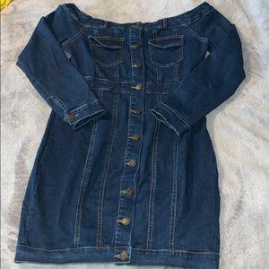 Dresses & Skirts - Jean off the shoulder dress